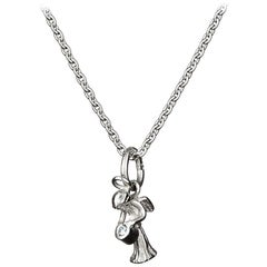 Guardian Angel Pendant With Chain Traceable Diamond 18 Karat White Gold