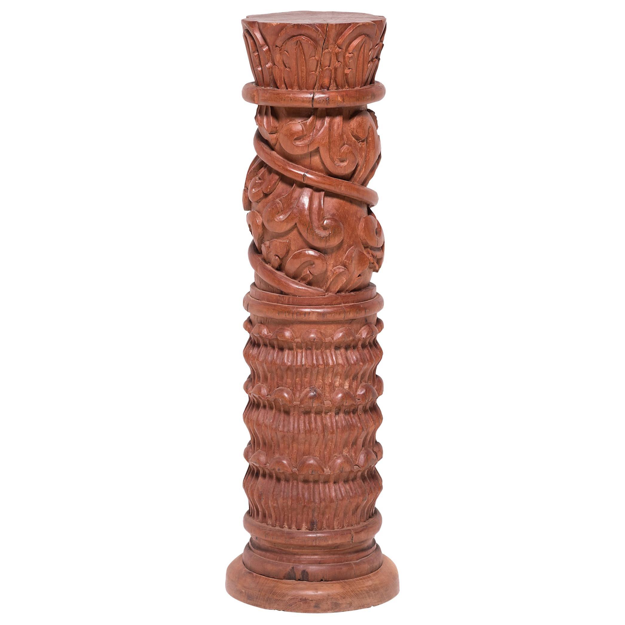 Guatemalan Carved Column Pedestal