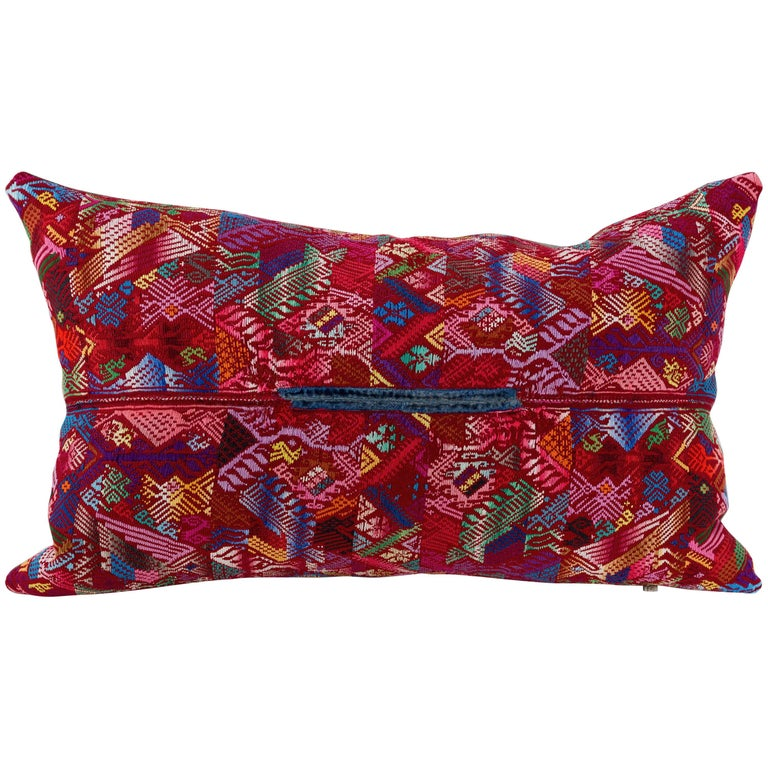 Guatemalan Huipil Textile Pillow in Red Pink Violet Blue Yellow For Sale