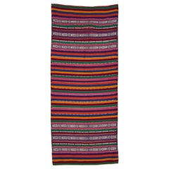 Guatemalan Woven Skirt Striped Ikat Textile