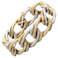 Gubelin 18 Karat White and Yellow Gold Braided Link Bracelet