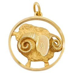 Gübelin 18 Karat Yellow Gold Aries Zodiac Astrological Symbol Pendant/Charm