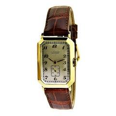 Gubelin 18 Karat Yellow Gold Art Deco Handmade Wristwatch, circa 1930s