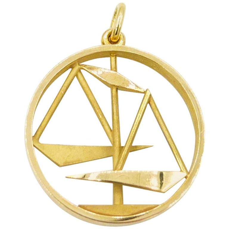 Gübelin 18 Karat Yellow Gold Libra Zodiac Astrological Pendant/Charm For Sale
