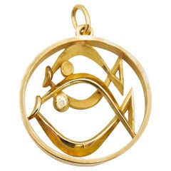 Gübelin 18 Karat Yellow Gold Pisces Zodiac Astrological Symbol Pendant/Charm