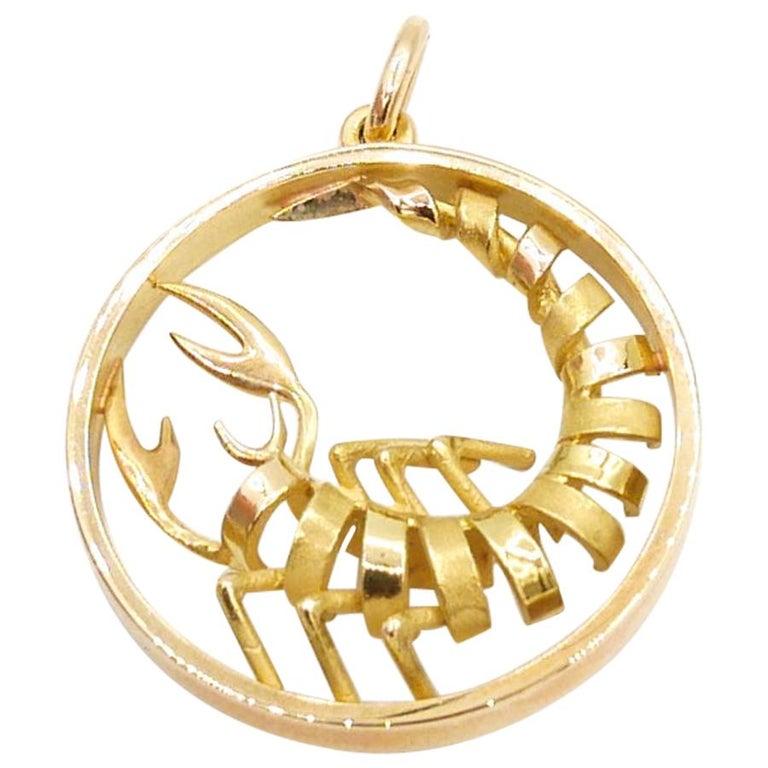 Gübelin 18 Karat Yellow Gold Scorpio Zodiac Astrological Symbol Pendant/Charm For Sale