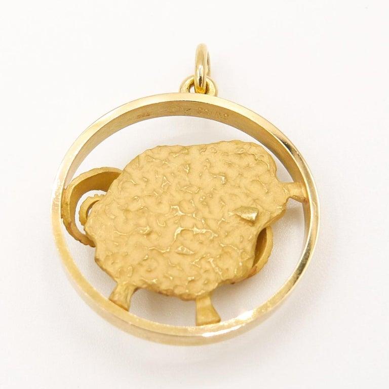 Gübelin 18k Yellow Gold ARIES Zodiac Pendant/Charm 1 inch diameter 7.5mm bail  Chain not included
