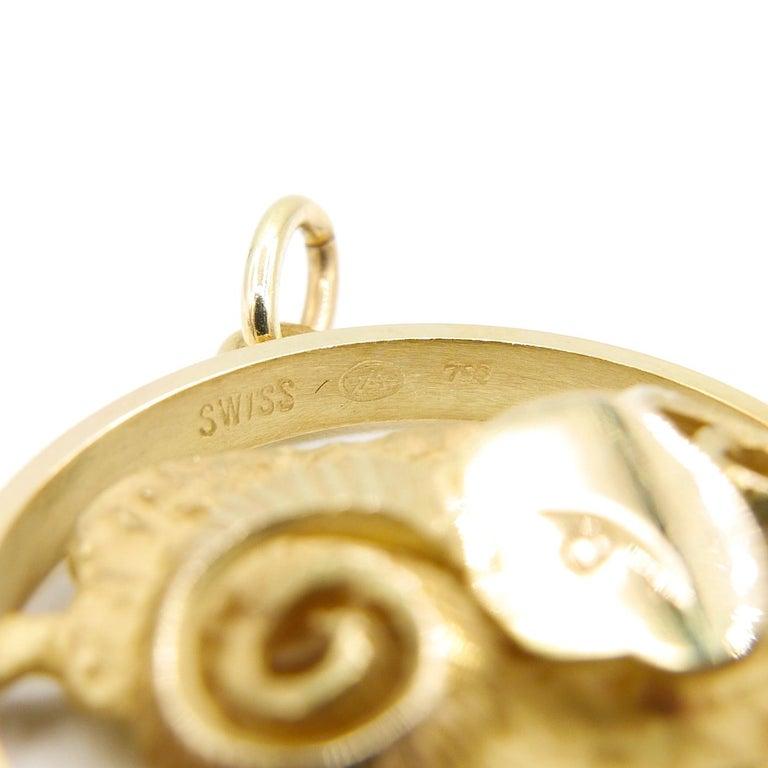 Modern Gübelin 18 Karat Yellow Gold Aries Zodiac Astrological Symbol Pendant/Charm For Sale