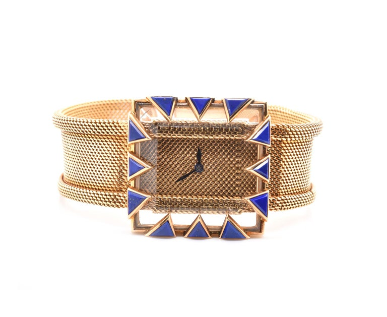 Gubelin 18 Karat Yellow Gold Lapis Vintage Watch In Excellent Condition For Sale In Scottsdale, AZ