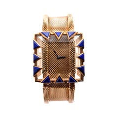 Gubelin 18 Karat Yellow Gold Lapis Vintage Watch