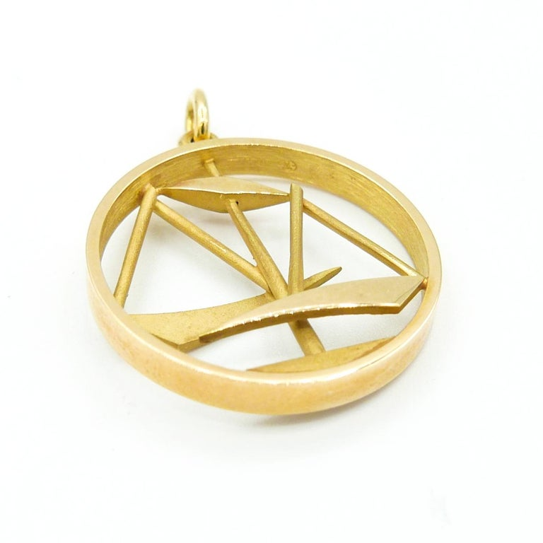 Gübelin 18 karat Yellow Gold LIBRA Charm/Pendant One inch diameter and 7.5mm bail.   Chain not included.