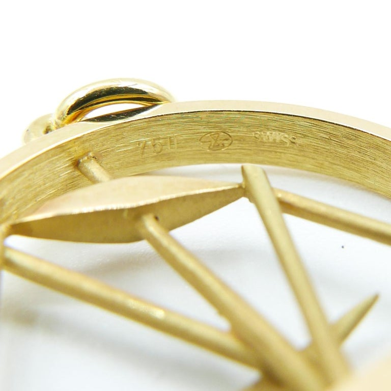Modern Gübelin 18 Karat Yellow Gold Libra Zodiac Astrological Pendant/Charm For Sale