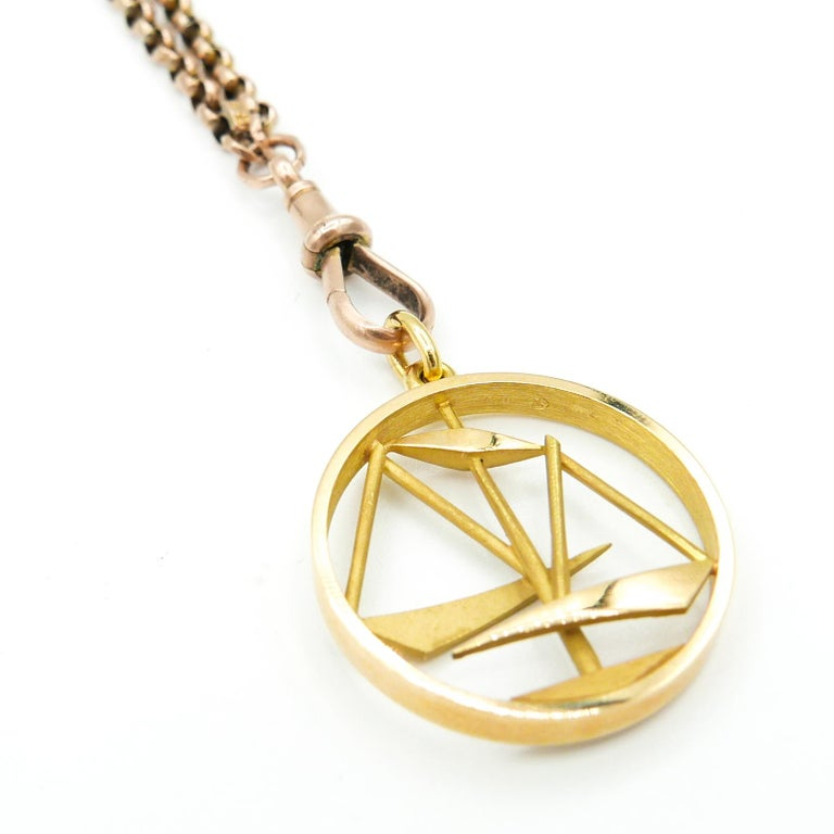 Women's or Men's Gübelin 18 Karat Yellow Gold Libra Zodiac Astrological Pendant/Charm For Sale