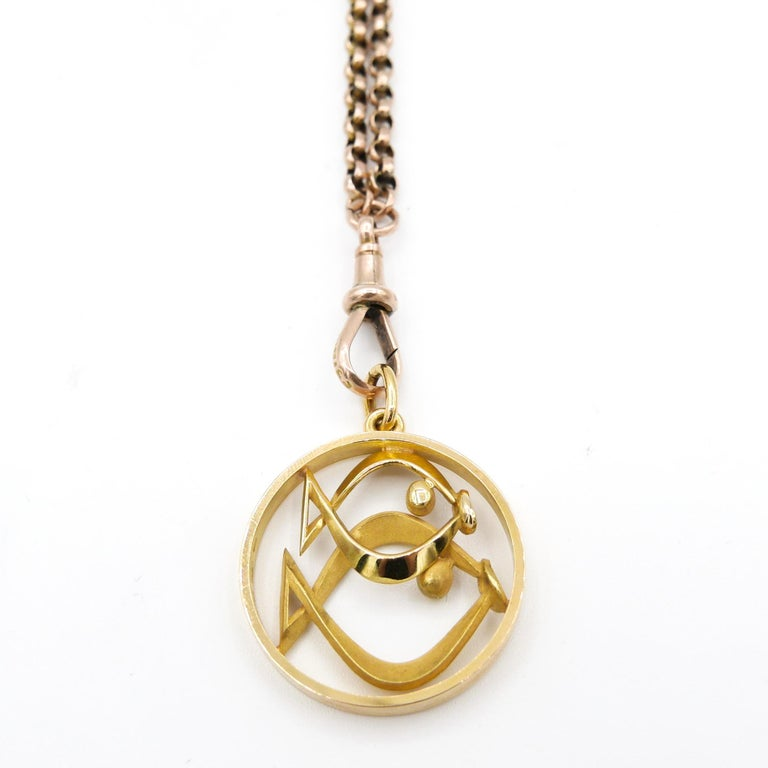 Gübelin 18 Karat Yellow Gold Pisces Zodiac Astrological Symbol Pendant/Charm In New Condition For Sale In New York, NY