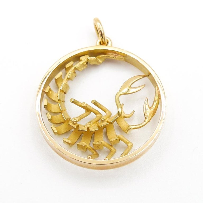 Gübelin 18k Yellow Gold Scorpio Zodiac Pendant/Charm 1 inch circumference and 7.5mm bail.  Chain not included.