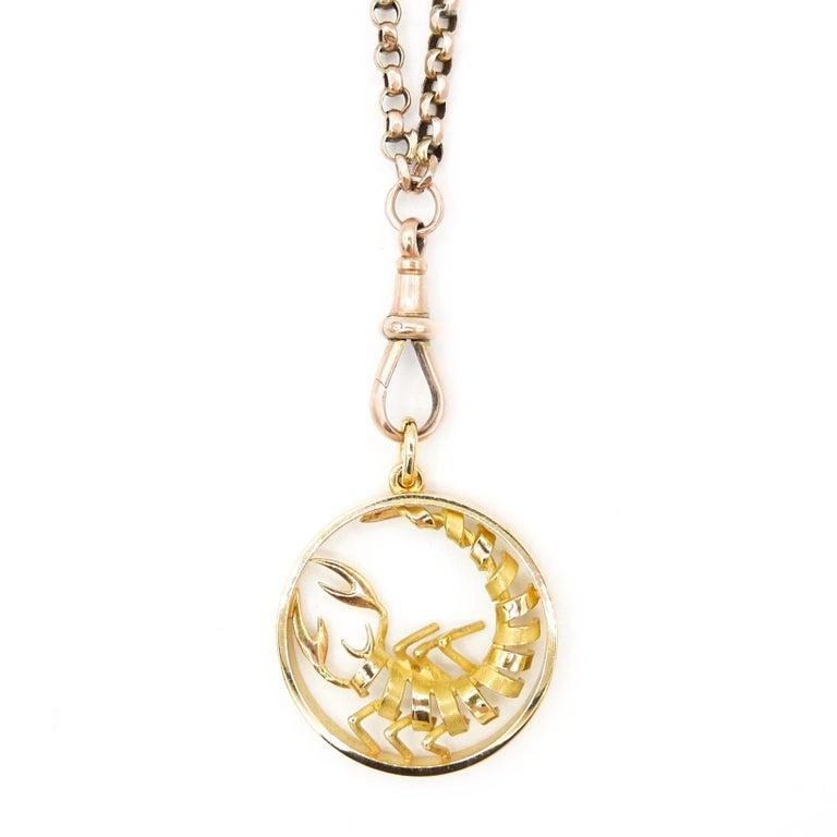 Gübelin 18 Karat Yellow Gold Scorpio Zodiac Astrological Symbol Pendant/Charm In New Condition For Sale In New York, NY