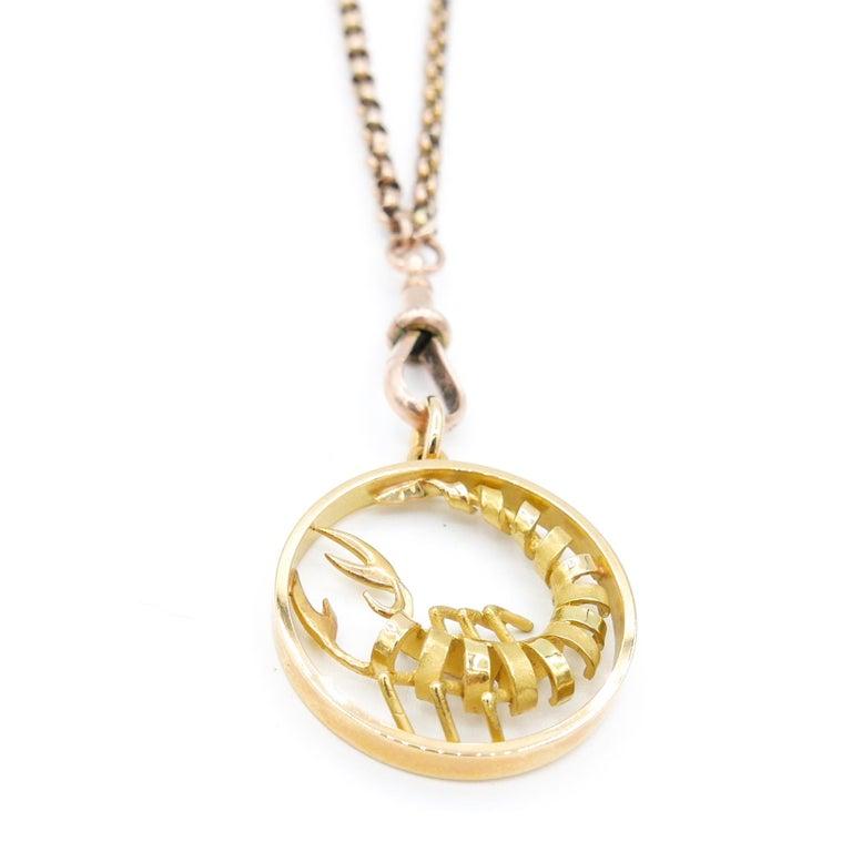 Women's or Men's Gübelin 18 Karat Yellow Gold Scorpio Zodiac Astrological Symbol Pendant/Charm For Sale