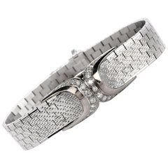 Gubelin 1940s Retro Coverd Diamond Bracelet 18 Karat Gold Watch
