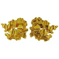Gubelin 1970s Freeform Gold Earrings