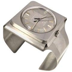 Gubelin 1970s Rare Midcentury Large Cuff Quartz Wristwatch