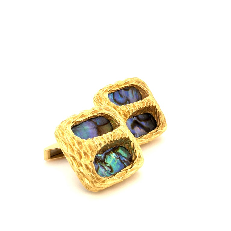 Retro Gübelin Abalone Pearl Yellow Gold Cufflinks For Sale