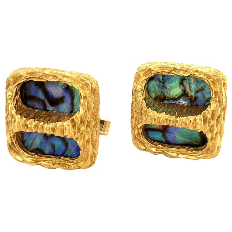 Gübelin Abalone Pearl Yellow Gold Cufflinks For Sale