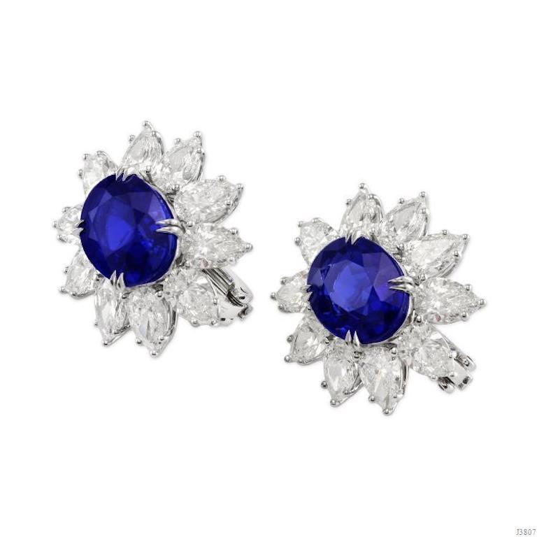 Modern Gübelin and GIA Certified No Heat Burma Sapphire Diamond Earrings For Sale
