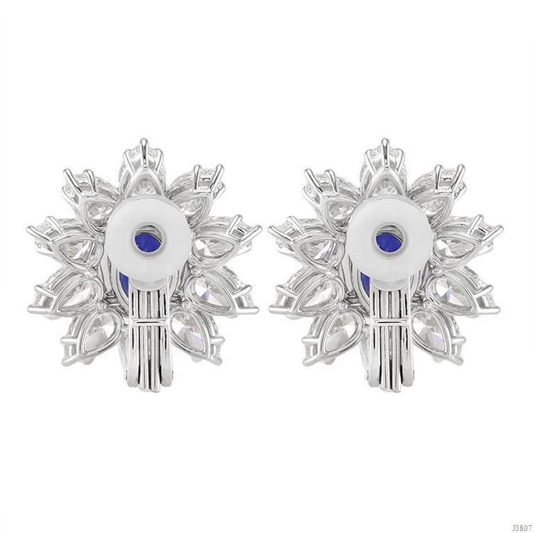 Oval Cut Gübelin and GIA Certified No Heat Burma Sapphire Diamond Earrings For Sale