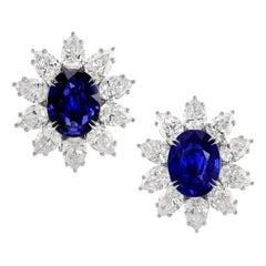 Gübelin and GIA Certified No Heat Burma Sapphire Diamond Earrings