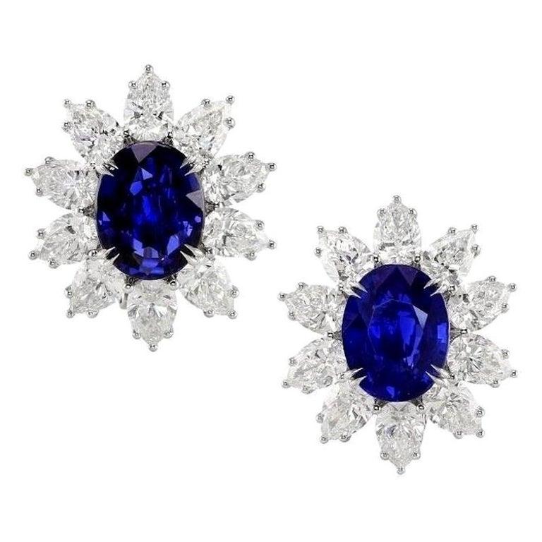 Gübelin and GIA Certified No Heat Burma Sapphire Diamond Earrings For Sale