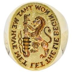 Gubelin Antique 18 Karat Gold Lion with Key Signet Ring
