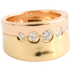 Gubelin Bi-Color Gold Ring with Diamonds