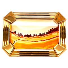 Gubelin Brooch / Pendant with Landscape Agate in Yellow Gold 18 Karat