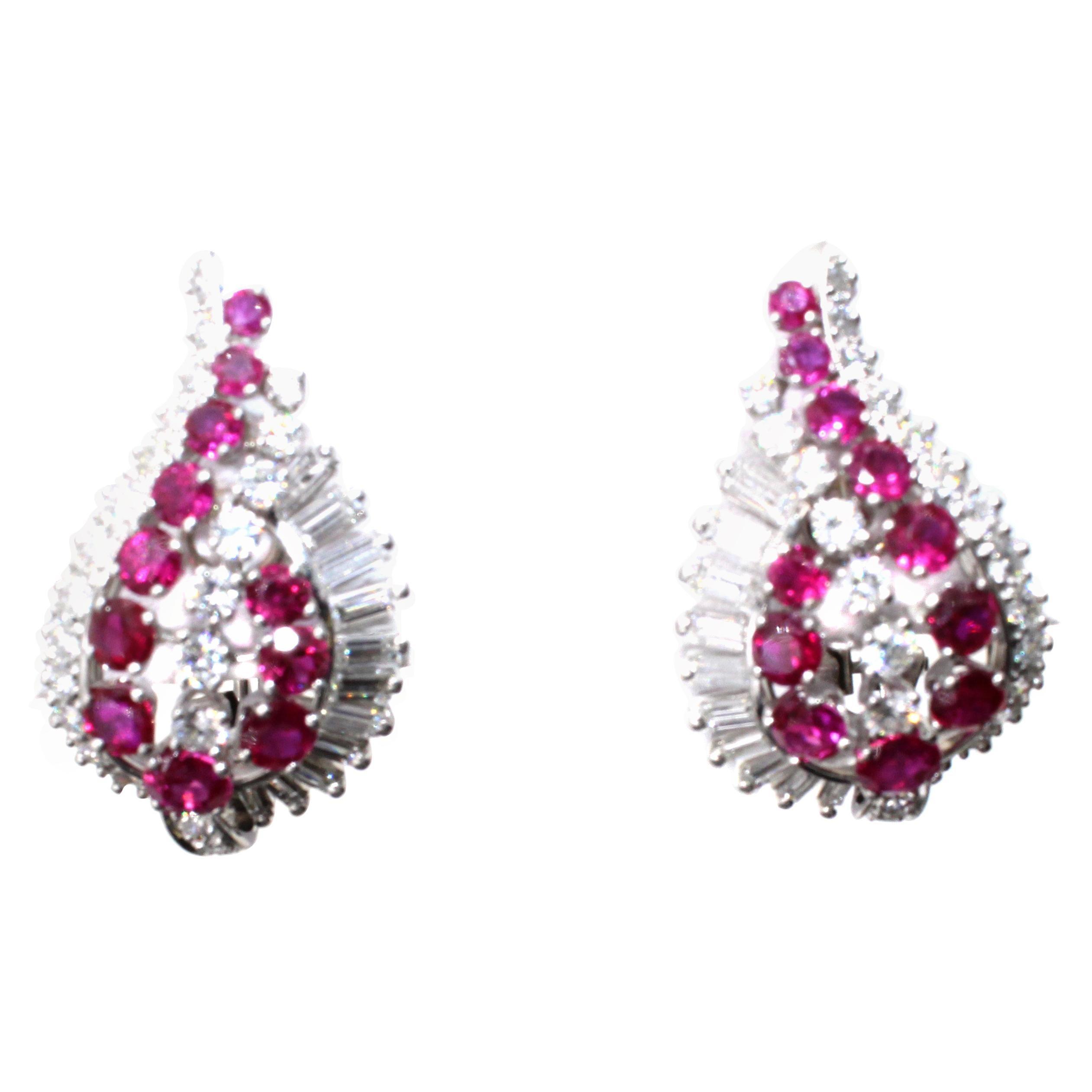 Gübelin Burmese Ruby Diamond Platinum Earrings