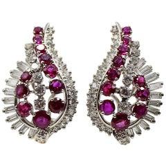 Gübelin Burmese Ruby Round Baguette Diamond Platinum Earrings