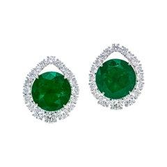 Gubelin Certified 10.59 Carat Round Colombian Emerald Earrings in 18K Gold