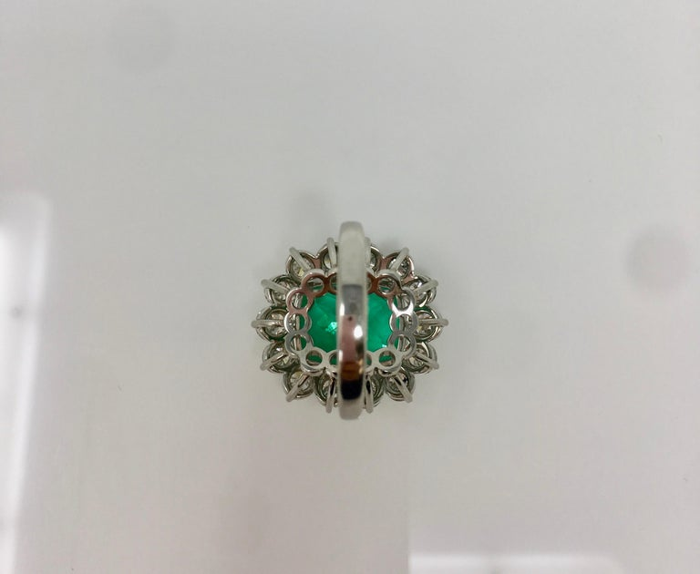 Contemporary Gubelin Certified 10.76 Carat Columbian Cushion Shaped Emerald and Diamond Ring For Sale