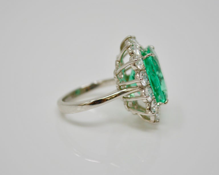 Cushion Cut Gubelin Certified 10.76 Carat Columbian Cushion Shaped Emerald and Diamond Ring For Sale