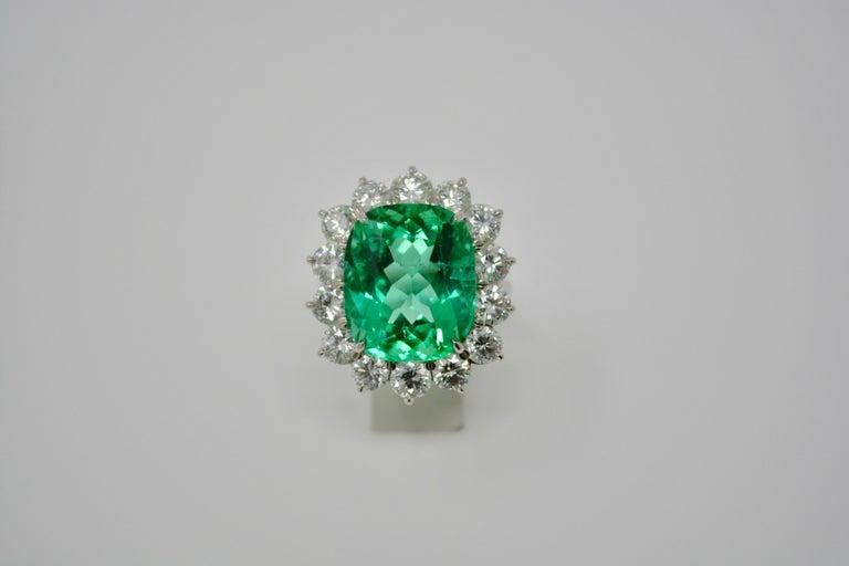 Women's Gubelin Certified 10.76 Carat Columbian Cushion Shaped Emerald and Diamond Ring For Sale