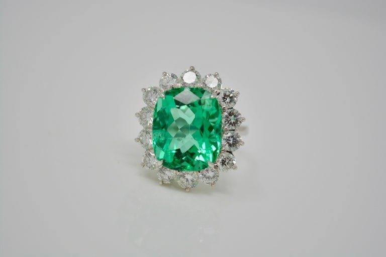 Gubelin Certified 10.76 Carat Columbian Cushion Shaped Emerald and Diamond Ring For Sale 1