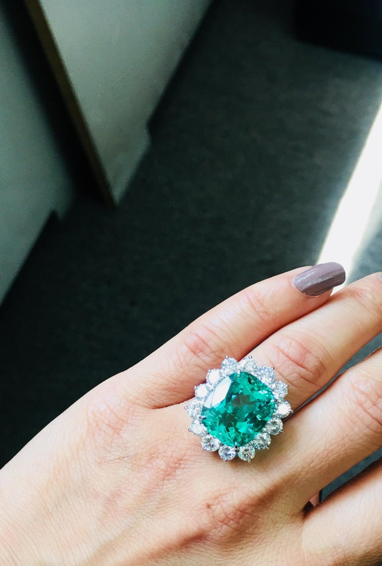 Gubelin Certified 10.76 Carat Columbian Cushion Shaped Emerald and Diamond Ring For Sale 2