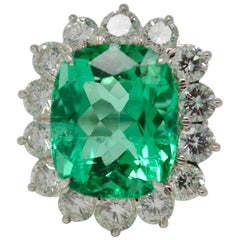 Gubelin Certified 10.76 Carat Columbian Cushion Shaped Emerald and Diamond Ring