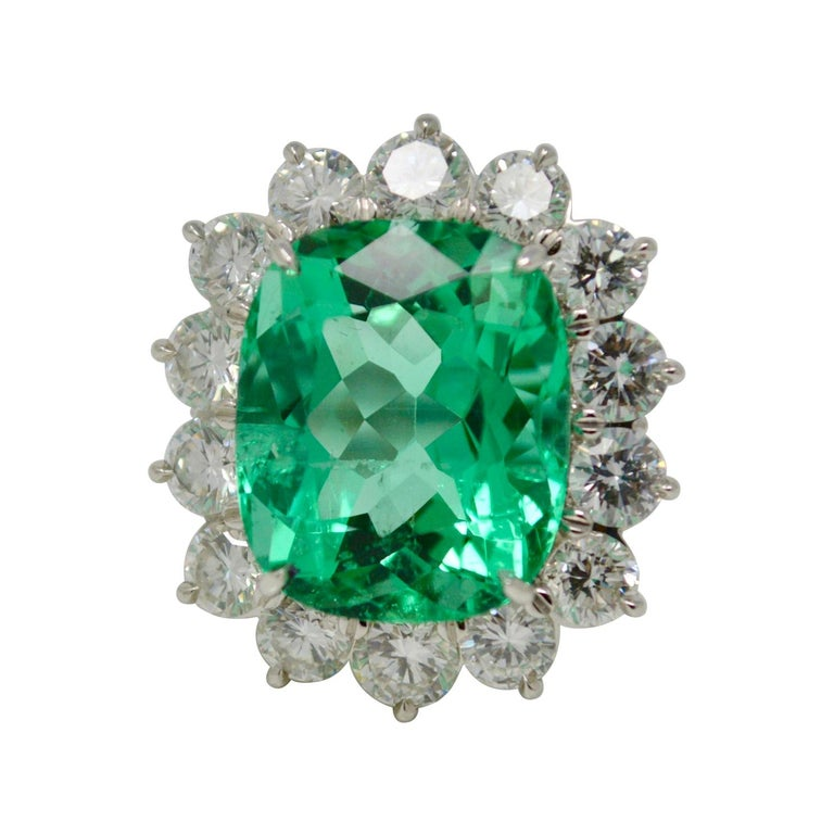 Gubelin Certified 10.76 Carat Columbian Cushion Shaped Emerald and Diamond Ring For Sale