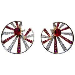 Gubelin Certified 2.2cts Burma No Heat Pigeon's Blood Ruby & Diamond Earrings