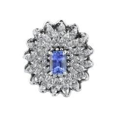 Gubelin Certified 3.09 Carat Natural Ceylon Blue Sapphire Platinum Cocktail Ring