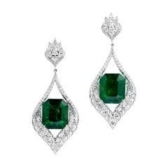 Gubelin Certified 42.62 Carat Colombian Emerald Diamond Earrings in 18K Gold