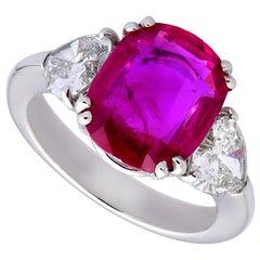Gubelin Certified 4.59 Carat Burmese Ruby, Heart Shaped Diamonds Ring