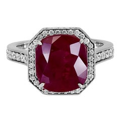 Gubelin Certified 5.63 Carat Ruby and Diamond Halo Engagement Ring