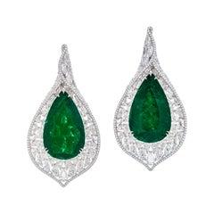 Gubelin Certified 65.97 Carat Colombian Emerald Diamond Earrings in 18K Gold