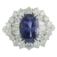 Gubelin Certified 7.86 Sri Lanka 'Ceylon' No Heat Sapphire Diamond Gold Ring